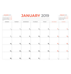 January 2019 calendar planner stationery design vector