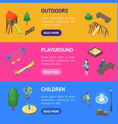 kid playground elements 3d banner horizontal set vector image