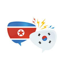 korean conflict south and north korean flags on vector image
