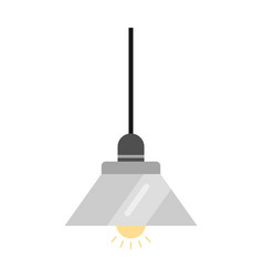 lamp flat icon and light object interior vector image