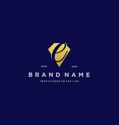 Letter e diamond gold logo design vector