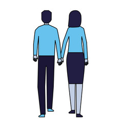 man and woman holding hands walking back view vector image