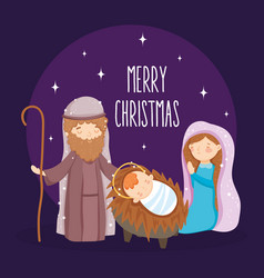 mary joseph and bamanger nativity merry vector image