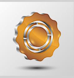 metallic gear icon for web design vector image
