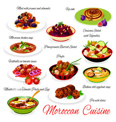 Moroccan food traditional cuisine menu dishes vector