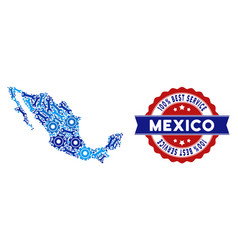 Mosaic mexico map of repair tools vector