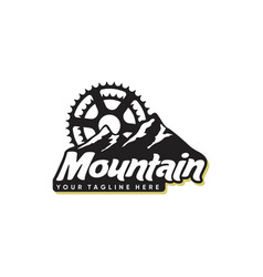 mountain and bicycle logo design vector image
