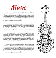 Musical poster with violin shape and notes vector image