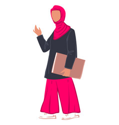 Muslim woman student with paper in clip vector