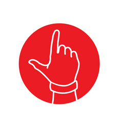 Number one or letter j hand gesture icon vector