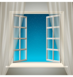Opening Window with Sky and Stars vector image