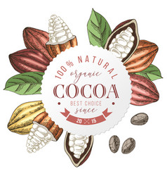organic cocoa round label with type design vector image
