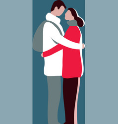 pair embrace look at each other isolated figures vector image