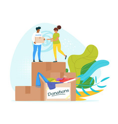 People donating clothes vector