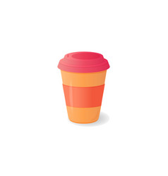 plastic disposable cup with a lid for the coffee vector image