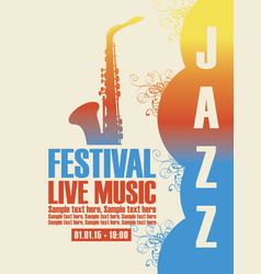 Poster for the jazz festival with a saxophone vector