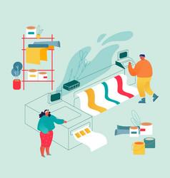 Printshop or printing service center with man vector