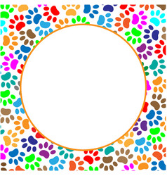 Round frame colorful paws animals vector