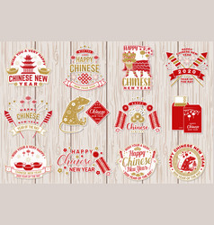 set happy chinese new year sticker design vector image