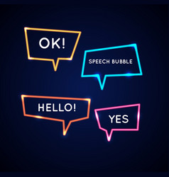set neon speech bubbles and blank template for vector image