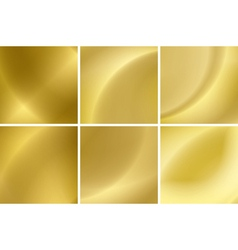 set of abstract gold neon backgrounds vector image