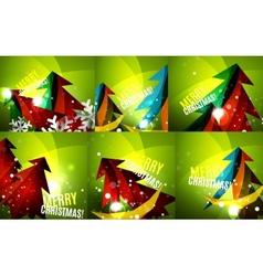 Set of colorful shiny Chrismas cards vector image