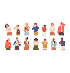 set of sad and upset people crying weeping vector image