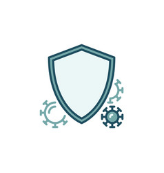 Shield with bacteria colored icon - antibacterial vector