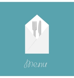 Silver fork knife and napkin Menu cover in flat vector image