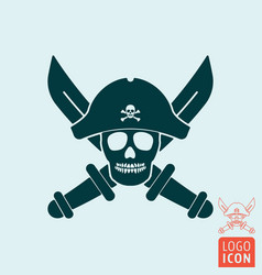 Skull pirate icon isolated vector