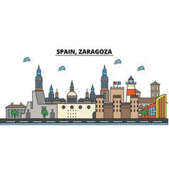 spain zaragoza city skyline architecture vector image
