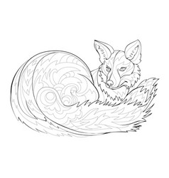 stylized cute fox black and white page vector image
