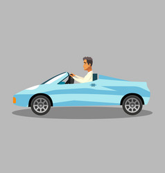 Successful man in convertible sports car clipart vector