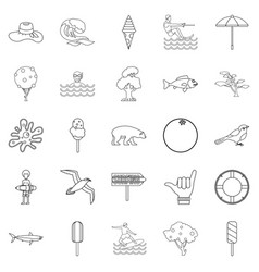summer holiday icons set outline style vector image