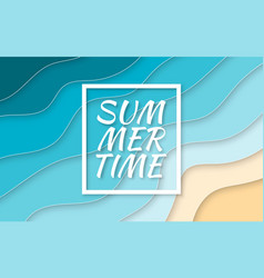 summer time paper cut style blue sea and beach vector image