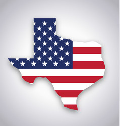 texas tx state america flag map flat vector image