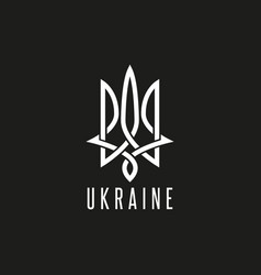 Trident logo mockup monogram weaving lines emblem vector