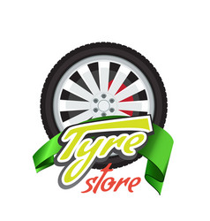 tyre store or repair logo with green ribbon vector image