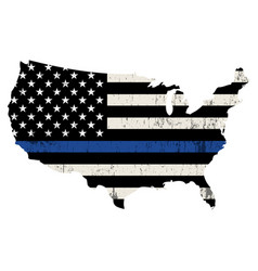 Usa police support thin blue line vector