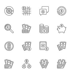 usd currency outline icons set - dollar vector image