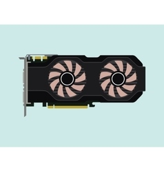 video graphic card isolated flat with green vector image