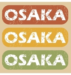 Vintage Osaka stamp set vector
