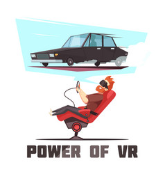 Vr car driving simulator cartoon vector