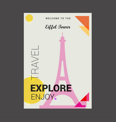 welcome to the eiffel tower paris france explore vector image