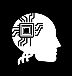 white human shape with microchip on black backdrop vector image