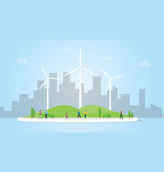 wind turbine concept on city for energy power vector image