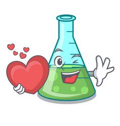 With heart science beaker mascot cartoon vector