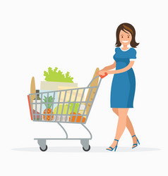 woman is carrying a grocery cart full vector image