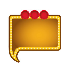 Yellow rectangle chat bubble with circles icon vector