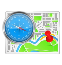 Abstract map with compass and push pin vector image vector image
